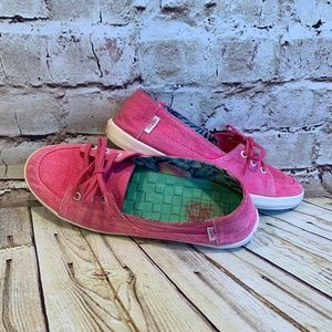 Vans Distressed Hot Pink Surf Siders Boat Flats S7